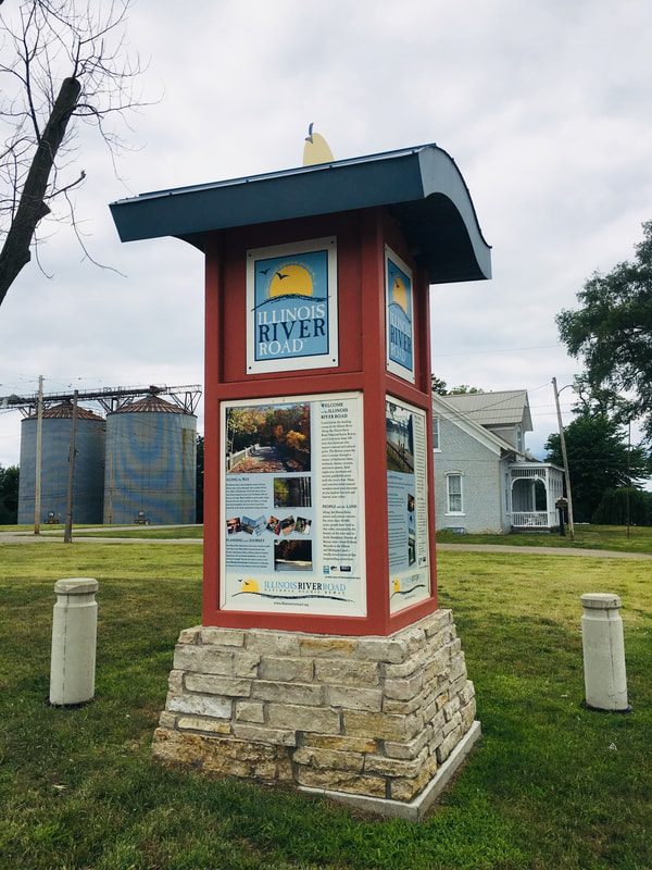 Scenic Byway kiosk at the corner of Main and Schrader
